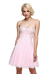2017 TS Couture® Prom Cocktail Party Dress A-line Sweetheart Short / Mini Chiffon with Beading / Crystal Detailing