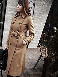 Women's Casual/Daily Simple Coat,Solid Long Sleeve Yellow Others