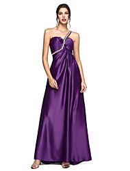 Linha A Assimétrico Cauda Escova Cetim Elástico Evento Formal Vestido com Laço(s) Detalhes em Cristal Franzido de TS Couture®