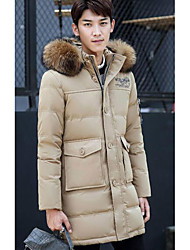 Men's Long Down Coat,Simple Casual/Daily Solid-Polyester White Duck Down Long Sleeve Hooded Beige