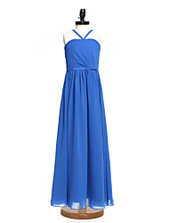 A-Line Spaghetti Straps Floor Length Chiffon Junior Bridesmaid Dress with Sash / Ribbon Side Draping by LAN TING BRIDE®