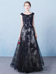 Formal Evening Dress A-line Jewel Floor-length Tulle with Appliques