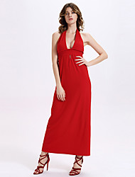 Trapèze Robe Femme Habillées / Soirée / Cocktail Vintage,Couleur Pleine Licou Maxi Sans Manches Rouge Polyester / AutresToutes les
