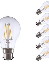 4W B22 LED Filament Bulbs A60(A19) 4 COB 400 lm Warm White Decorative V 6 pcs