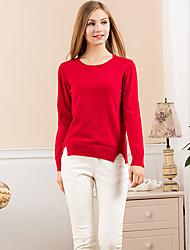 Mujer Regular Pullover Noche Simple,Un Color Azul / Rojo / Amarillo Escote Redondo Manga Larga Lana Otoño Medio Rígido