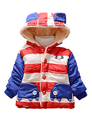 Girl's Cotton Winter Fashion Casual/Daily Stripes Patchwork Cartoon Elephant Thicken Keep Warm Hoodie Cotton-Padded Coat