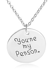 Necklace You're My Person Round Pendant Necklaces Jewelry Party / Daily Unique Design Alloy Coppery 1pc Gift