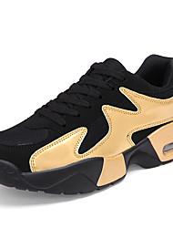 Feminino-Tênis-Conforto-Rasteiro-Azul Preto e Dourado Preto e Branco-Couro Ecológico-Para Esporte