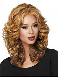 Rose network Womens Wigs Hair Mix Color Wig Heat Resistant Ombre Curly Hair Synthetic Wigs
