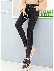 851 # 2016 Fall Fashion Korean stretch denim pants feet pencil pants button Slim thin wild