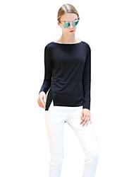 Damen Solide Einfach Übergröße T-shirt,Rundhalsausschnitt Herbst Langarm Blau / Weiß / Schwarz Baumwolle Mittel