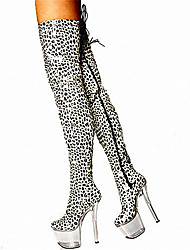 17CM white leopard boots high heeled boots with / Sexy Knee Boots / Ultra high heel Women's Shoes / Fashion Animal Print