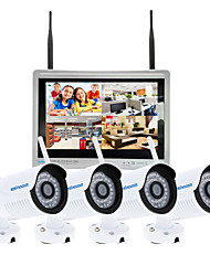 Szsinocam 4CH 720P 12.5LCD NVR 4PCS 1.0MP IR Outdoor P2P Wireless IP CCTV Camera Security System Surveillance Kits