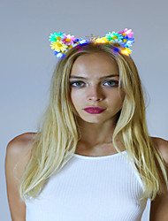 White Led Light Up Flower Cat Ears With Birthday CrownFloral Cat EarsKitty Ears Cat/Kitty Headband Halloween