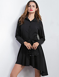 Women's Going out Chiffon Dovetail DressSolid Shirt Collar Asymmetrical Long Sleeve Black Fall Mid Rise