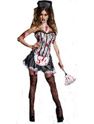 Costumes de Cosplay Sorcier/Sorcière Cosplay de Film Gris Couleur Pleine Robe / Chapeau Halloween / Carnaval Féminin Polyester