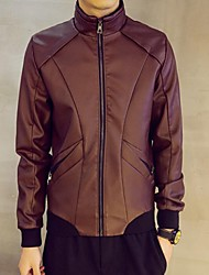 Men's Going out Simple Leather Jackets,Solid Stand Long Sleeve Fall / Winter Black / Brown PU Medium
