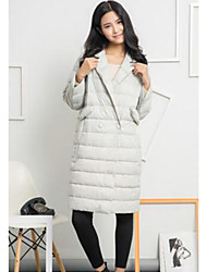 Women's Long Down Coat,Simple Casual/Daily Solid-Polyester White Duck Down Long Sleeve Shirt Collar Blue / Pink / Black / Gray