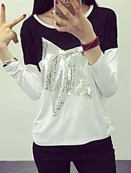 Tee-shirt Femme,Géométrique Décontracté / Quotidien simple Automne Manches Longues Col Arrondi Multi-couleur Coton Moyen