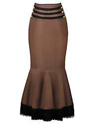 Women's Ruffle Shaperdiva Brown Gothic Thin Bodycon Steampunk Corset Skirts