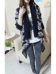 Damen Standard Mantel / Capes-Lässig/Alltäglich Einfach Druck Schwarz Hemdkragen Langarm Acryl Winter Dick Mikro-elastisch