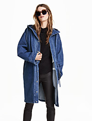Women's Going out Street chic Denim Jackets,Solid Hooded Long Sleeve Fall / Winter Blue Polyester Medium