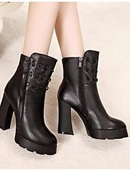 Damen Stiefel Komfort Leder Frühling Herbst Winter Normal Komfort Niete Reißverschluss Blockabsatz Schwarz 5 - 7 cm
