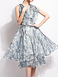 Chocolatone Women's Casual/Daily Simple Loose DressPrint Round Neck Knee-length Sleeveless Gray Polyester