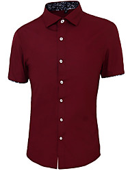 Masculino Camisa Casual Simples Verão,Sólido Azul / Rosa / Vermelho / Branco / Verde / Amarelo Algodão Colarinho de Camisa Manga Curta
