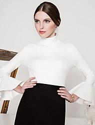 Damen Solide Retro Ausgehen T-shirt,Rollkragen Herbst / Winter Langarm Rot / Weiß / Schwarz Nylon Undurchsichtig