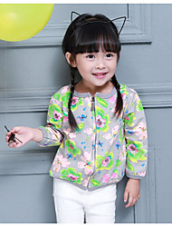 Girl's Casual/Daily Floral Jacket & CoatCotton Spring / Fall Green / Gray