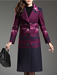 Women's Plus Size / Going out Street chic Coat,Jacquard Notch Lapel Long Sleeve Winter Purple Wool / Polyester Medium