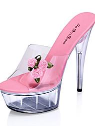 Women's Sandals Transparent Summer Platform PVC Casual Stiletto Heel Platform Flower Pink Red Fuchsia Other