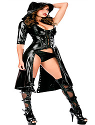 Adult Sexy Patent Leather Dark V-Neck Sexy Lingerie Babydoll Erotic Sexy Jumpsuit Clubwear