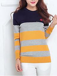 Damen Standard Pullover-Lässig/Alltäglich Einfach Gestreift Blau Gelb Rundhalsausschnitt Langarm Baumwolle Herbst Mittel Mikro-elastisch