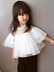 Girl's Casual/Daily Solid BlousePolyester Summer / Spring / Fall White