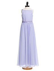 Lanting Bride Floor-length Chiffon Junior Bridesmaid Dress A-line Straps with Sash / Ribbon