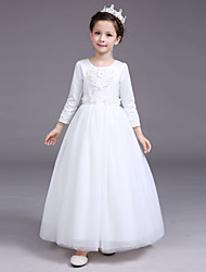 Ball Gown Tea-length Flower Girl Dress - Satin Tulle Jewel with Appliques Pearl Detailing