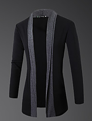 Men's Casual/Daily Simple Regular Cardigan,Color Block Gray Round Neck Long Sleeve Wool Spring Fall Medium Micro-elastic