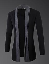 Herren Standard Strickjacke-Lässig/Alltäglich Einfach Einfarbig Grau Rundhalsausschnitt Langarm Wolle Frühling Herbst Mittel