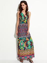 Women's Boho Plus Size Boho Sheath Dress,Print V Neck Maxi Sleeveless Purple Cotton / Polyester Summer