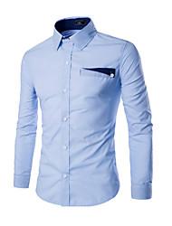 Chemise Hommes,Couleur Pleine Décontracté / Quotidien / Habillées simple Printemps / Automne Manches Longues Col Officier Bleu / Blanc