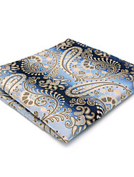 Mens Pocket Square Blue Paisley Hanky Handkerchief For Men Dress