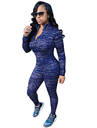 Set Pantalon Costumes Femme,Couleur Pleine Décontracté / Quotidien / Sportif simple / Actif Printemps / Automne Manches Longues MaoBleu /