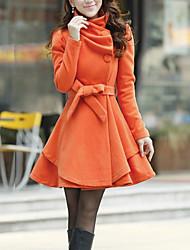 Женский На каждый день Однотонный Пальто Асимметричный вырез,Очаровательный Осень / Зима Красный / Зеленый / Оранжевый Длинный рукав,