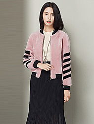 Feminino Casaco de Pelo Casual Simples Outono / Inverno,Sólido Rosa Lã Colarinho Chinês-Manga Longa Grossa