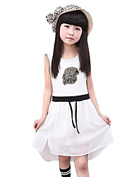 Girl's Going out Print Dress,Cotton / Others Summer Black / White