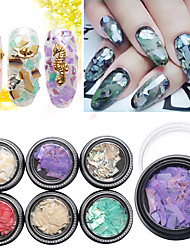 1Pcs  Manicure jewelry Natural Dyeing Shell 6 Color Box Nail Art Decoration