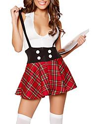 Disfraces de Cosplay / Ropa de Fiesta Cosplay Festival/Celebración Traje de Halloween Rojo Escocés Top / Falda Halloween / Carnaval Mujer