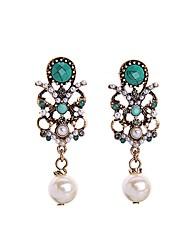 European Luxury Gem Geometric Earrrings Exaggerated Pearl Drop Earrings for Women Fashion Jewelry Best Gift